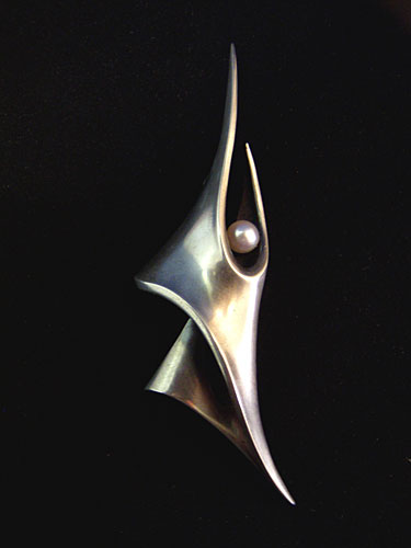 Brooch, silver with a pearl